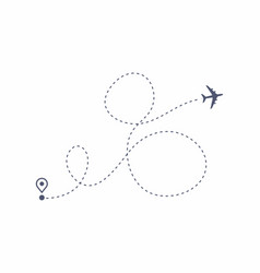 airplane line path air plane flight route vector image