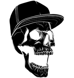 Angry skull with hat vector