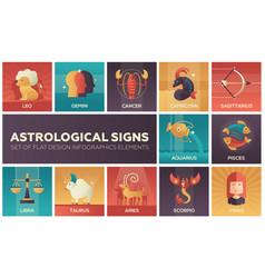 astrological signs - set of flat design vector image