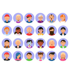 avatars set of male and female characters in flat vector image