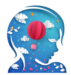 beautiful paper head girl air balloon vector image
