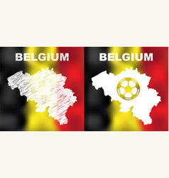 belgian abstract maps set with flag and ball vector image