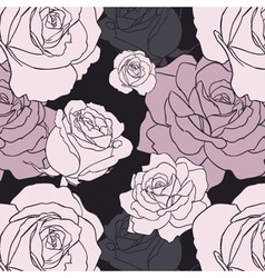 Black Gothic Rose Seamless Pattern vector image