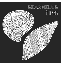 Black white shell Stickers isolated on black vector