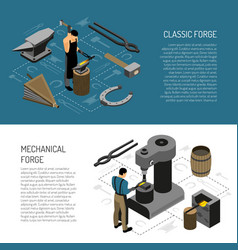 blacksmith isometric banners vector image