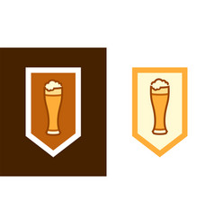 blazon with a cup of beer vector image