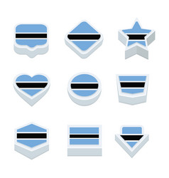 Botswana flags icons and button set nine styles vector