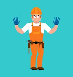 builder oops guilty worker in protective helmet vector image
