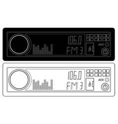 Car radio device black and white icons vector