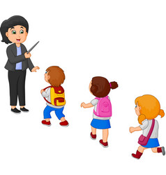 cartoon teacher and school kids vector image