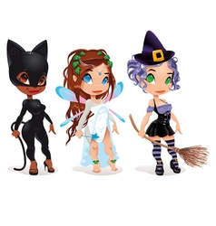 Cat Fairy and Witch vector image