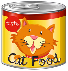 Cat food in aluminum can with yellow label vector
