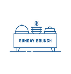 Catering buffet or sunday brunch icon vector