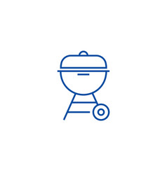 charcoal grill line icon concept charcoal grill vector image