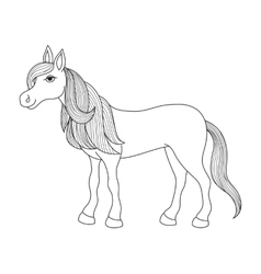 Charming cartoon horse with long golden mane and vector image