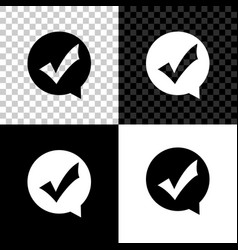 check mark in circle icon isolated on black white vector image