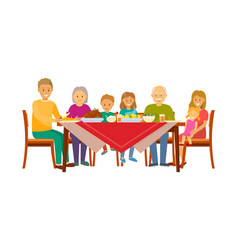 Christmas dinner of big family sitting by table vector