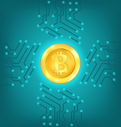 circuit background with crypto currency bitcoin vector image