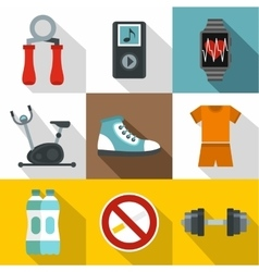 Classes in gym icons set flat style vector image