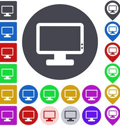 Color monitor icon set vector