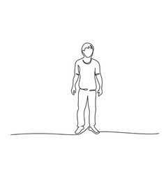 continuous one line drawing standing man vector image