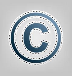 Copyright sign blue icon vector