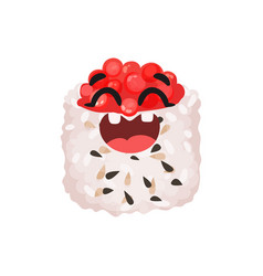cute smiling sushi character with caviar roll vector image