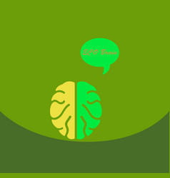 Eco brain with cloud on ecology style with bashers vector