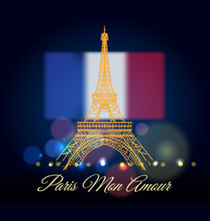 Eiffel tower with text poster vector