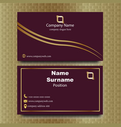 Elegant maroon and gold business card vector