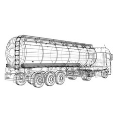 Euro truck oil trailer gasoline tanker created vector