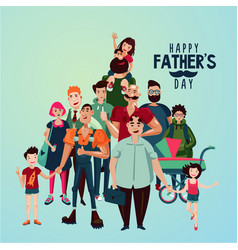 fathers day cartoon with group of vector image