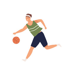 Female or male basketball player running with ball vector
