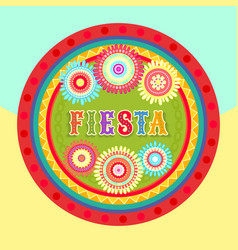 fiesta postcard text abstract flower frame vector image