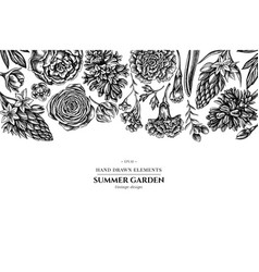 Floral design with black and white peony vector