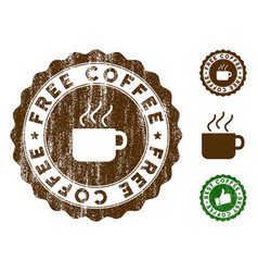 Free coffee stamp seal with grungy surface vector