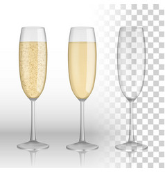 full and empty glass of champagne and white wine vector image