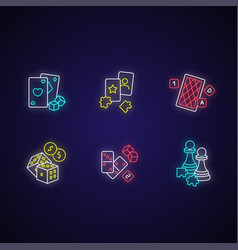 gambling and intellectual games neon light icons vector image