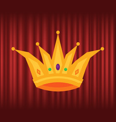 golden corona crown with gems jewelry vector image