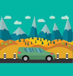 green car on the road vector image