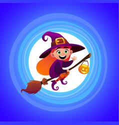 halloween little witch girl kid in halloween vector image