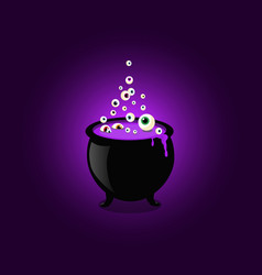 Halloween witch cauldron with bubbling purple goo vector
