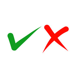 hand drawn green checkmark and red cross vector image
