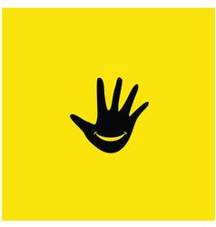 Hand smile template design vector