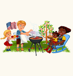 Happy american family cooking barbeque outdoors at vector