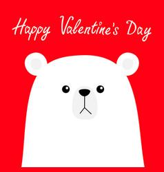 happy valentines day polar white bear cub face vector image