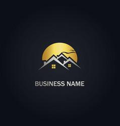home real estate sunset gold logo vector image