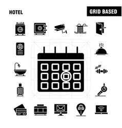Hotel solid glyph icons set for infographics vector