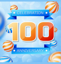 Hundred years anniversary celebration design vector