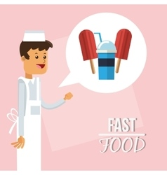 Ice cream man and fast food design vector
